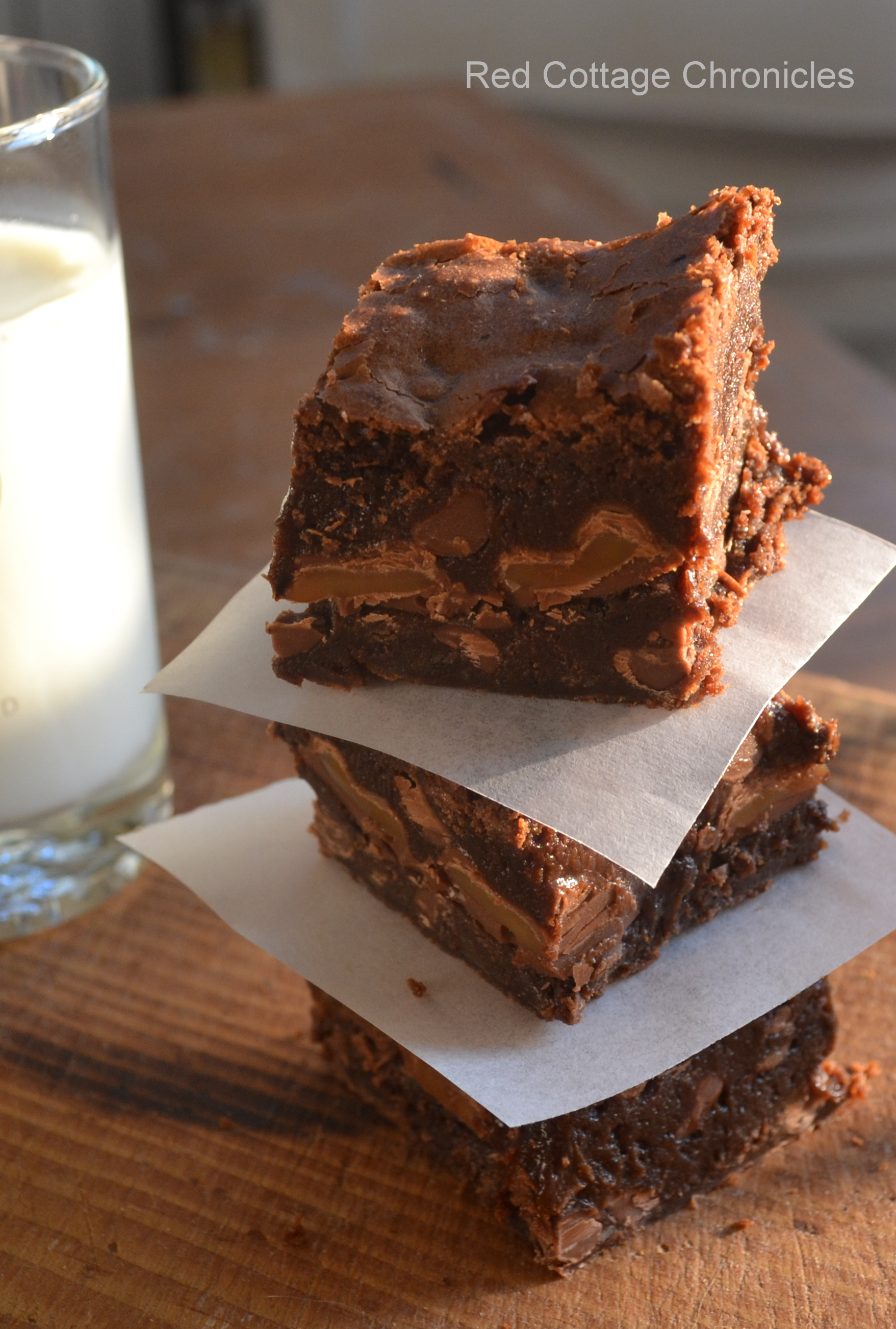 Triple Chocolate Caramel Brownies - Red Cottage Chronicles