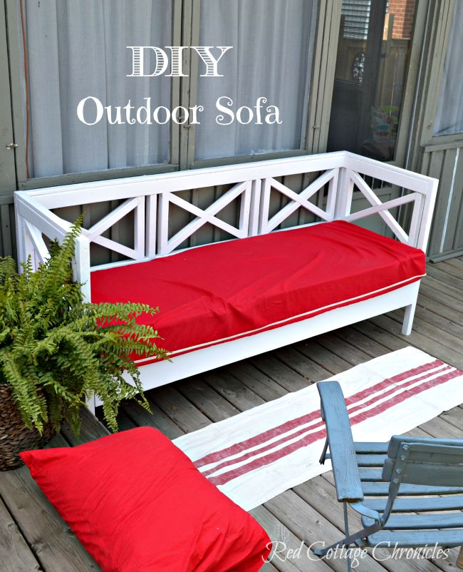 Diy outdoor sofa red cottage chronicles