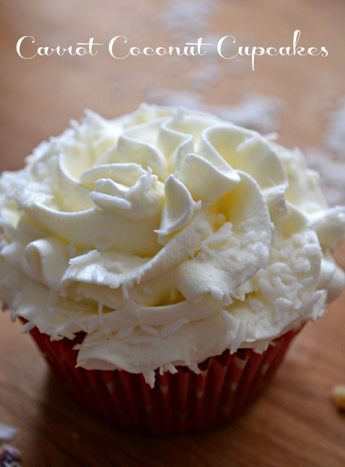 Easy Carrot Coconut Cupcakes that start with a mix!