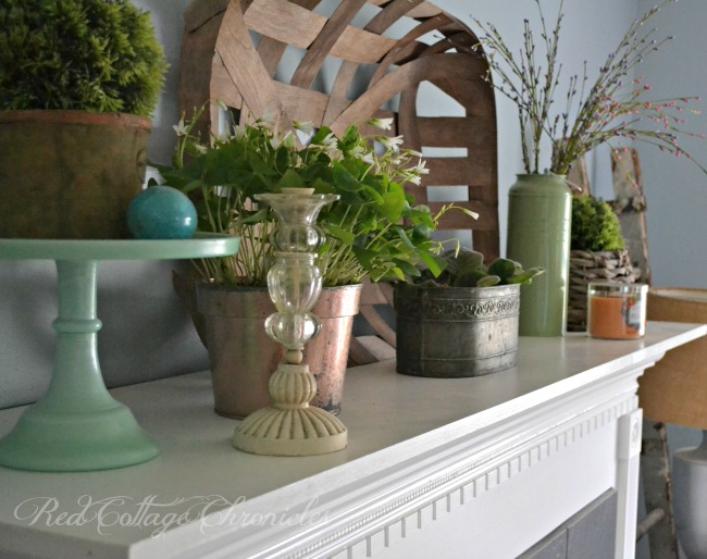 Styling a Spring Mantel in green