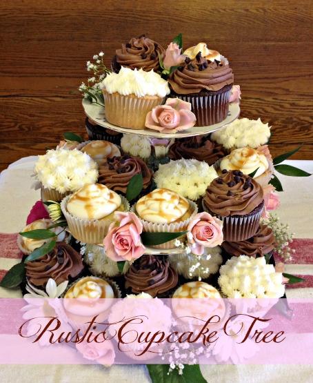 Whimsical rustic cupcake display