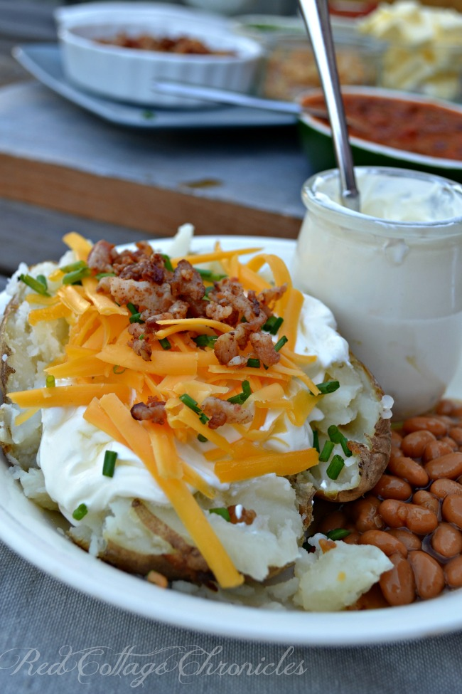 Wow your dinner guests with a self serve baked potato bar