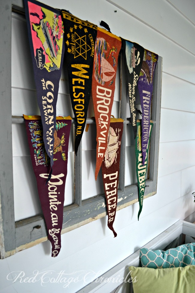 Thrift Store Upcycle Challenge Vintage Pennants Display