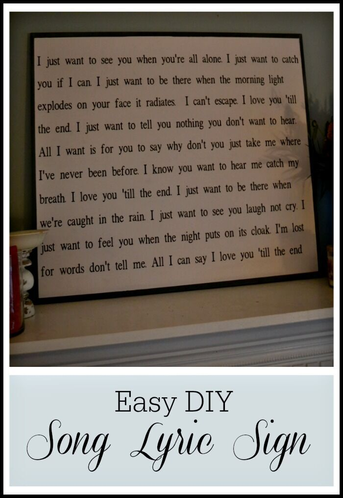 DIY Song Lyrics Sign