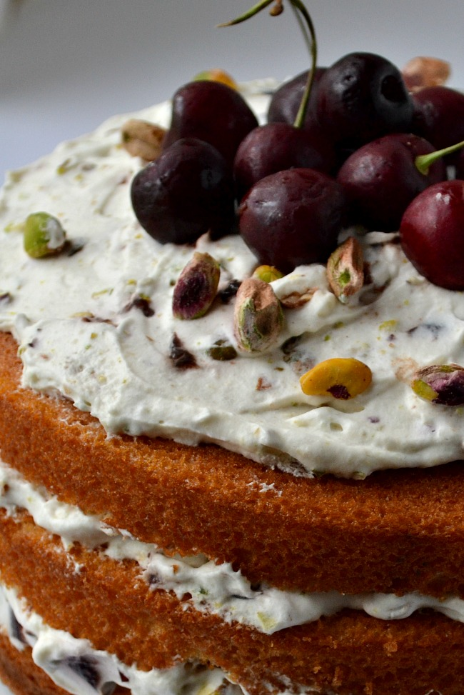 The perfect summer dessert! Cherry Pistachio Naked Cake