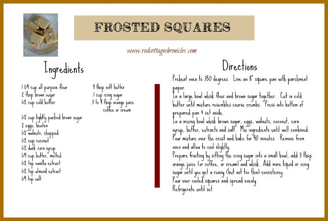 Frosted Squares Recipe