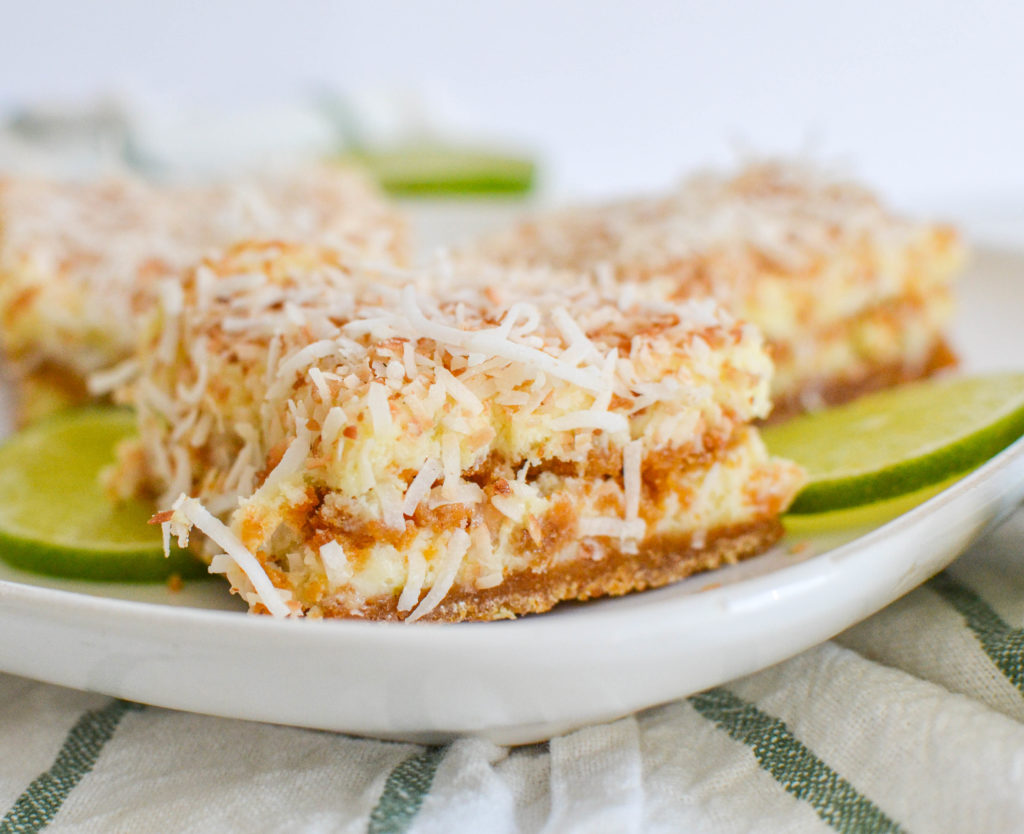 Toasted coconut and lime squares