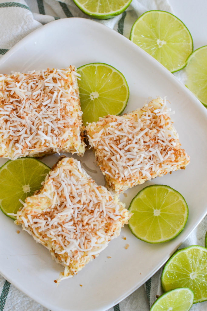 Lime and toasted coconut Napoleon squares recipe