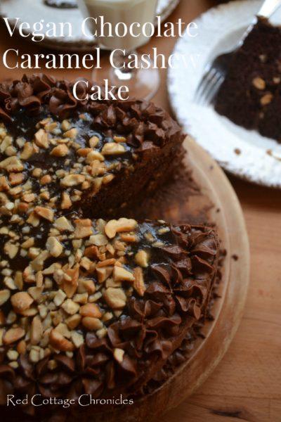 Vegan Chocolate Caramel Cashew Cake