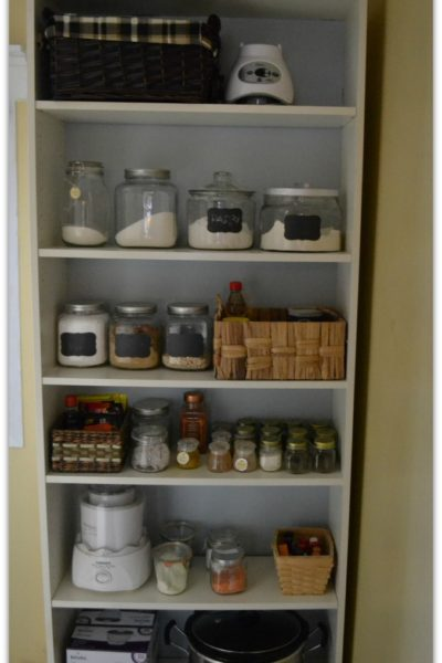 A re-purposed Ikea Billy Bookcase works as a pantry in a small space