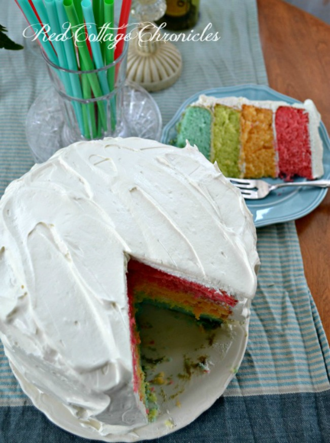 Rainbow Cake with Sour Cream Frosting