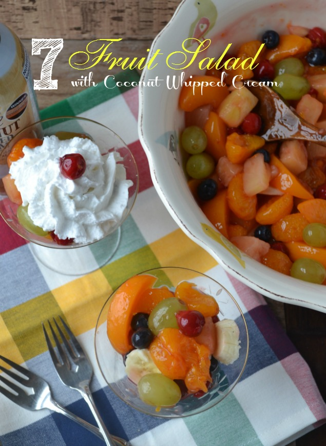 A healthy fruit salad topped with Gay Lea Coconut Whipped Cream