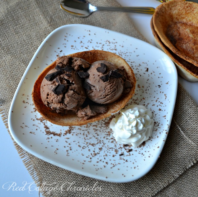 A tortilla bowl makes the perfect bowl for this Mexican Hot Chocolate Ice Cream