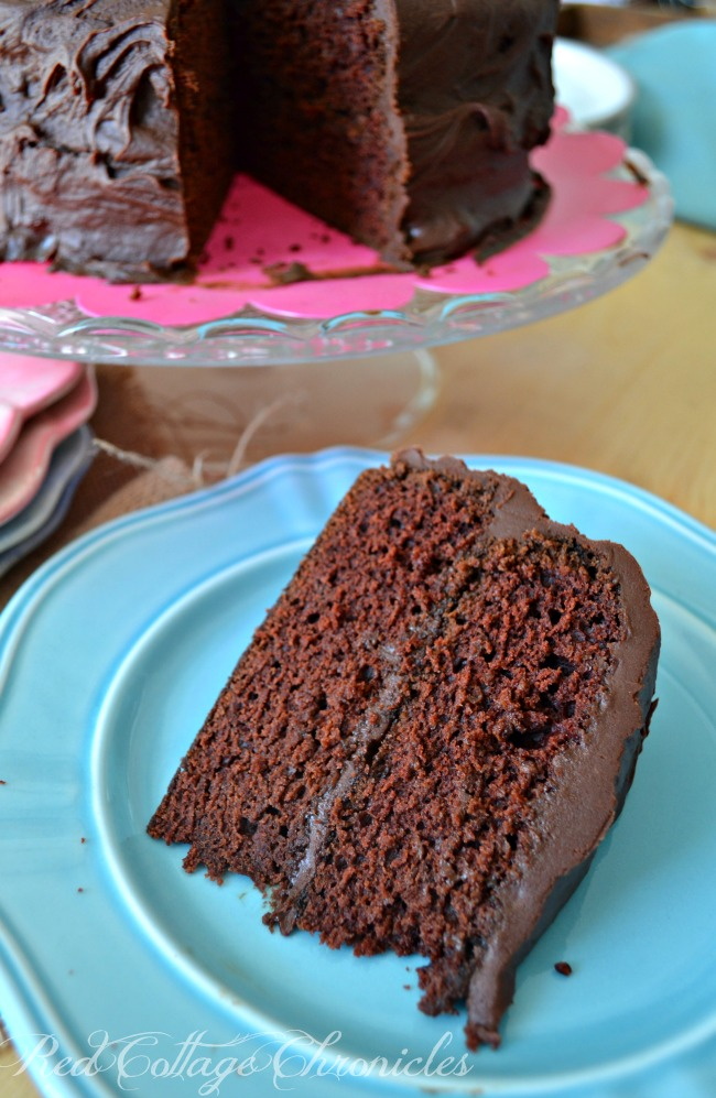 A decadent fudgy chocolate cake is vegan friendly