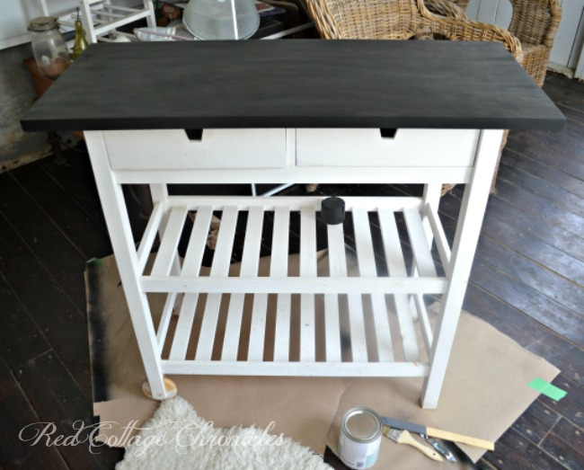 This Ikea kitchen cart hack transformed a worn water damaged piece into a bright and useful addition to our screen porch
