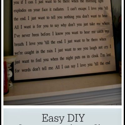 Easy DIY Song Lyrics Sign No Sign Painting Skills Required