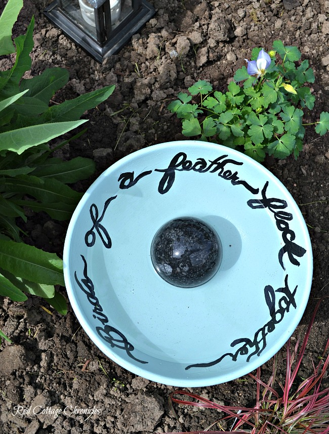 DIY Birdbath ideas using an upcycled fruit bowl