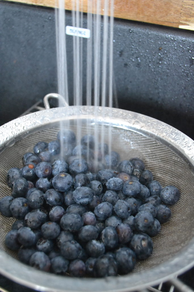 Rinsing fresh blueberries for my blueberry shortcake