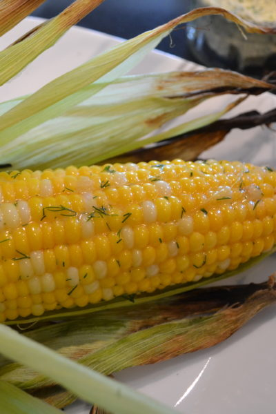 Grilled Corn on the Cob with dilled butter