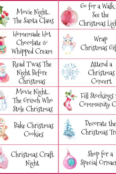 Christmas Activities Tags