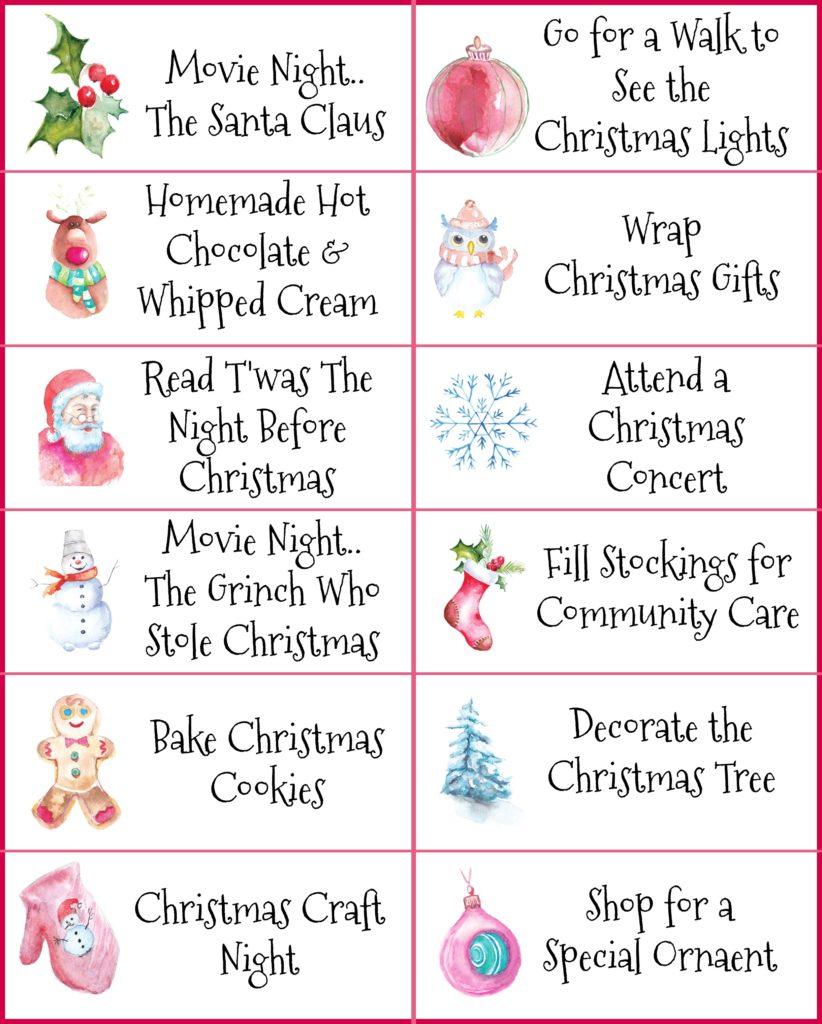 Christmas Activities Tags