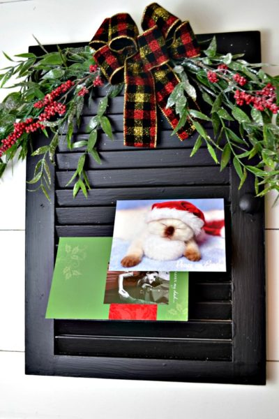 Upcycled shutter Christmas Card Holder