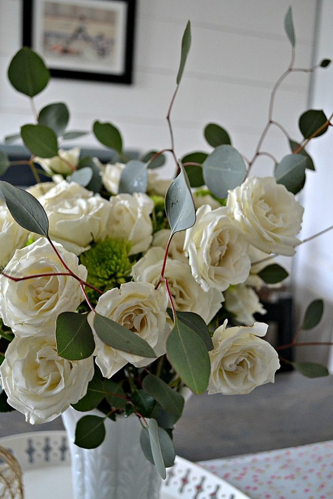 DIY White and Green Flower Arrangement