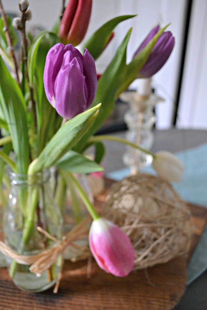 Farmhouse Easter tulip arrangement