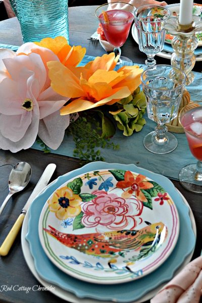 Pink and Orange Tablescape for Spring