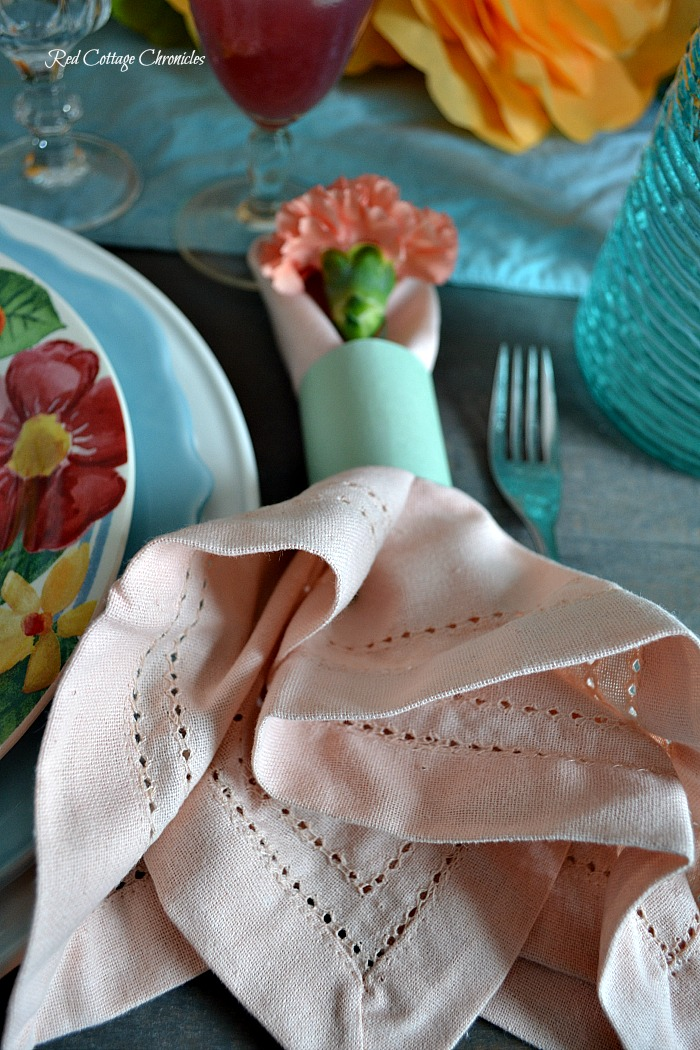 Pink and Orange Spring Tablescape