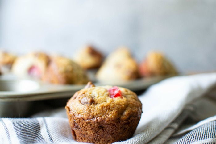 easy banana muffins with cherries and chocolate chips