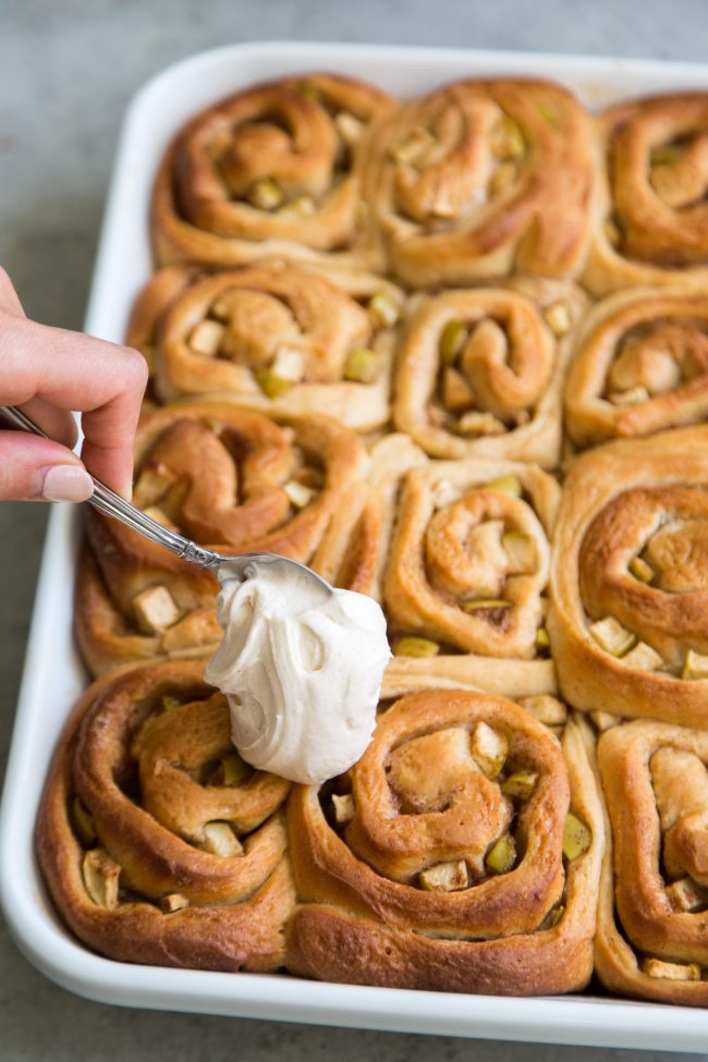Apple Cinnamon Rolls with spiced cream cheese- The Little Epicurean