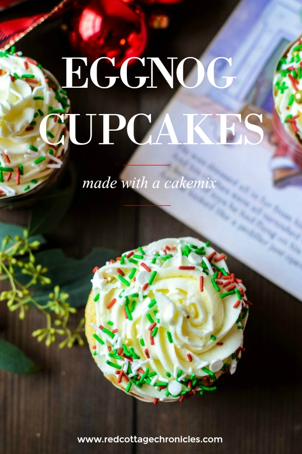 Simple Eggnog cupcakes made from a boxed cake mix