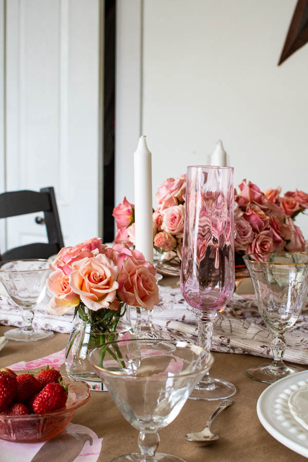 Valentine's Day Table decor in shades of pink and blush