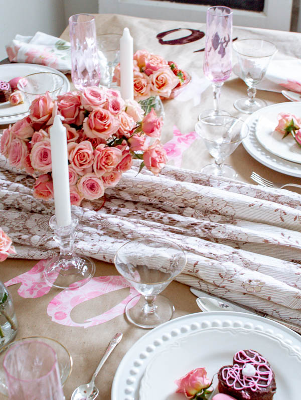Valentine's Day Table decor featuring soft pink and blush roses