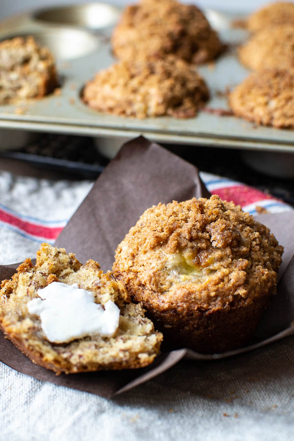 Bakery Style Vegan Banana Muffins with a crumb topping