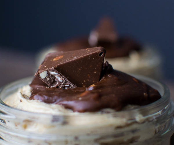 No Bake Toberlone Chocolate Peanut Butter Cheesecake in a Jar