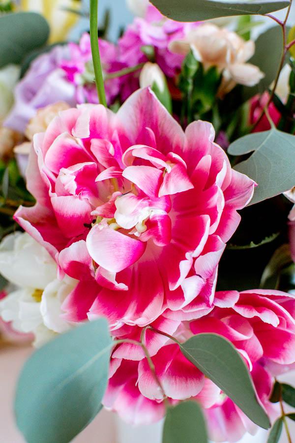 Spring table decor flower centerpiece