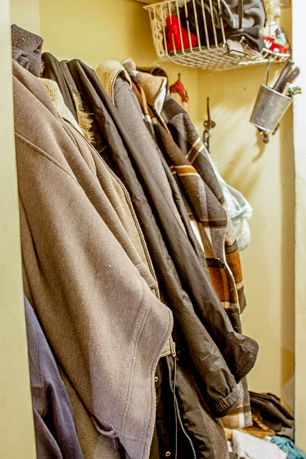 How to turn a coat closet into an open pantry.