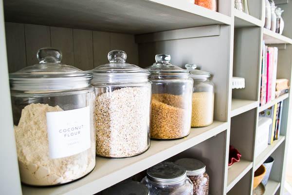 Whole grains on a pantry shelf