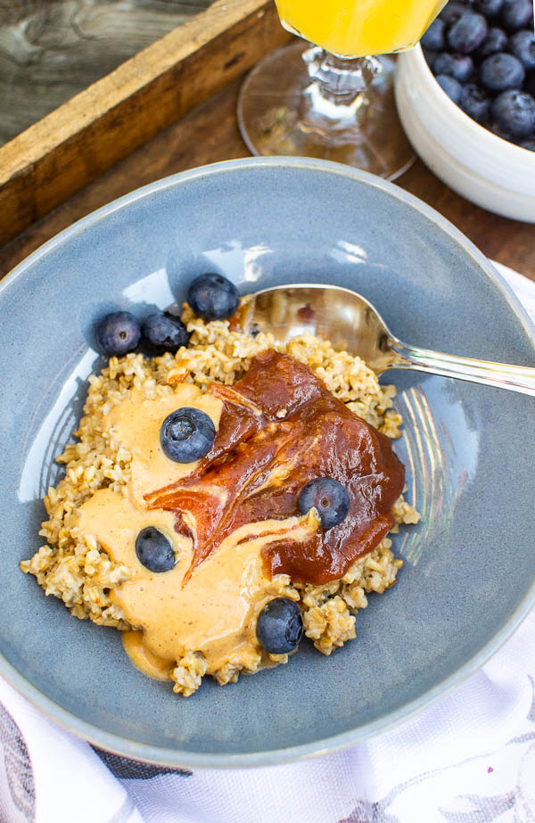 Toasted steel Cut Oats with nut butter and almond butter
