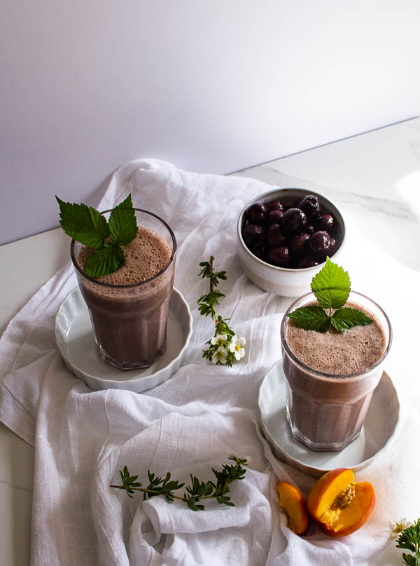 Peach and cherry protein smoothie is a delicious fresh fruit smoothie