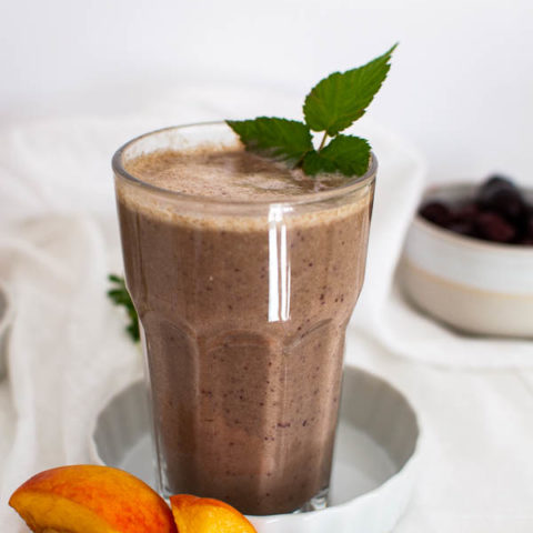 peach and cherry protein smoothie made with hemp powder