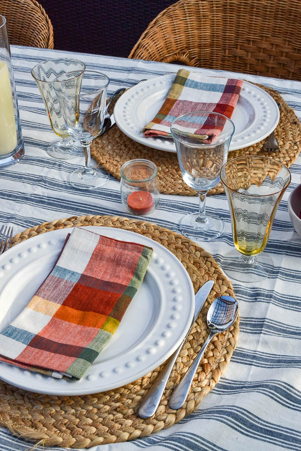 plaid napkins on a fall dining table