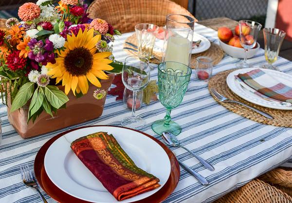 Blue ticking stripe tablecloth
