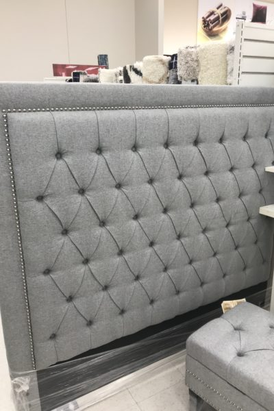 Gray Headboard for small bedroom makeover