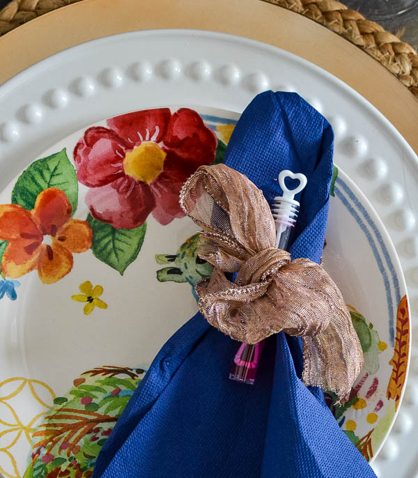 Cobalt Blue napkins on plates with bright flowers