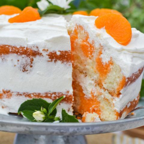 2 layer orange creamsicle poke cake