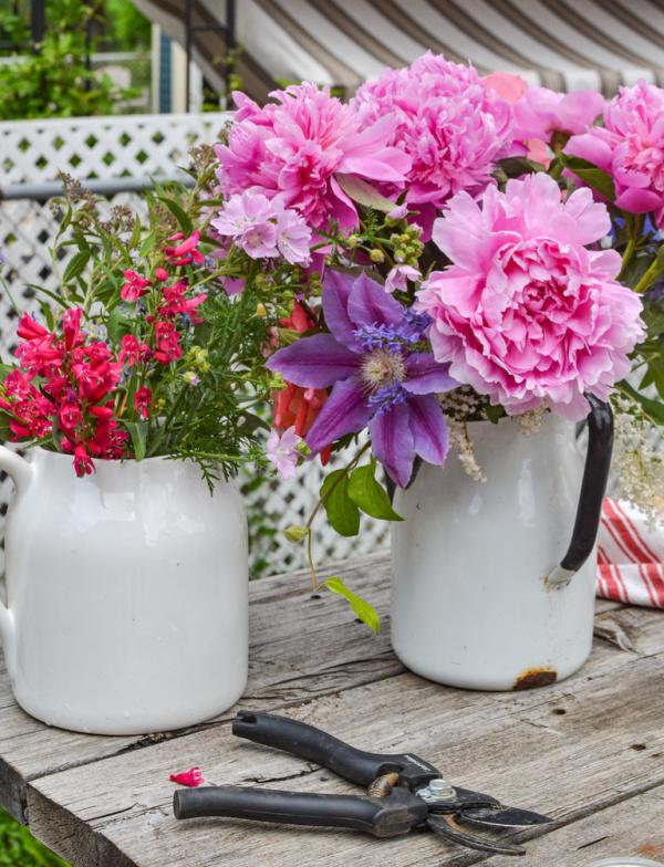 summer garden flowers in a white jug