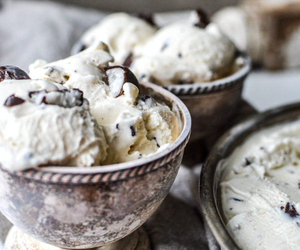 Homemade Peppermint Patty Ice Cream In antique silver bowls